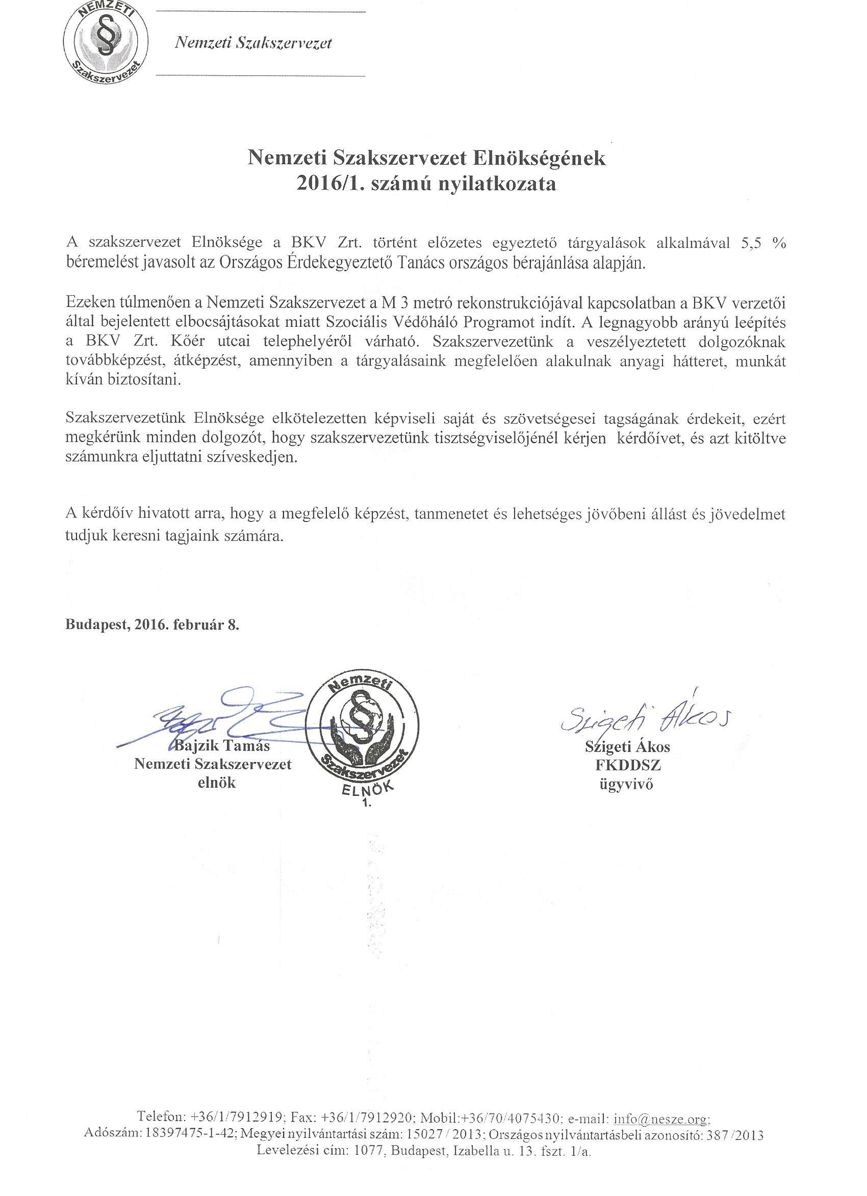 A Nemzeti Szakszervezet Elnöksége bejelentette a Szociális Védőháló Program elindítását